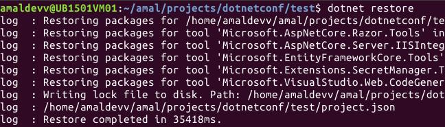 dotnet restore mvc core app