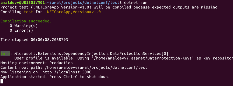 dotnet run web app